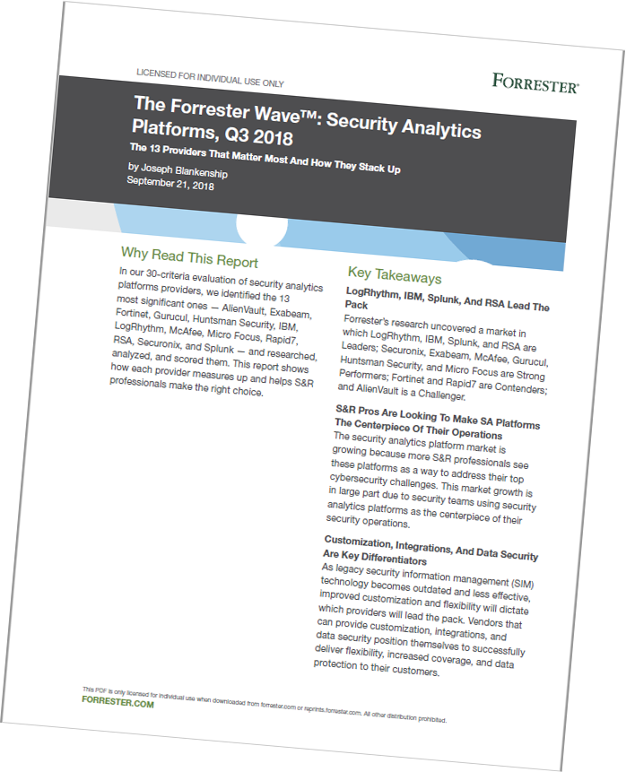 Forrester Wave report for the third quarter of 2018: Security analytics platforms
